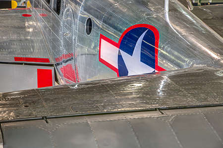 aircraft rivets: Air Force plane showing the hundreds of rivets it was built with on the shiny aluminum skin. Editorial