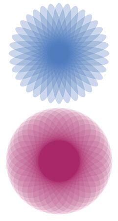 spirograph: A set of spirograph flowers Illustration