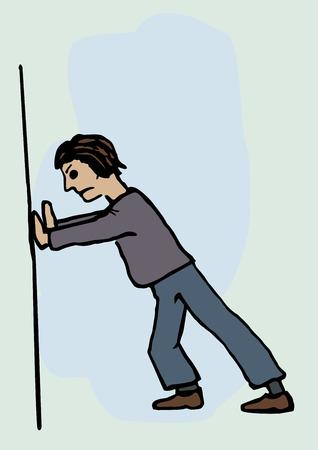 Een man duwen tegen een muur Stock Illustratie