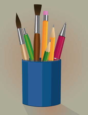 pen holder: A pen holder with pencils pens and paintbrushes
