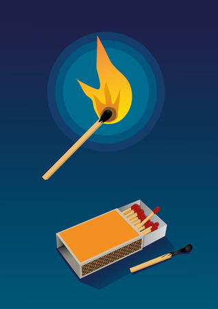 box of matches: A burning match and a box of matches