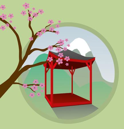 japanese garden: Japanese garden house Illustration