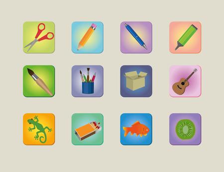 caja de cerillas: Un conjunto de iconos diferentes colourfull