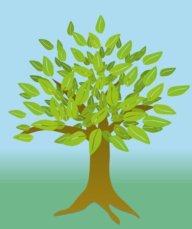 Tree with leaves Ilustrace