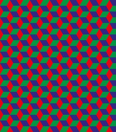 repeating background: Seamless red, green and blue tile pattern