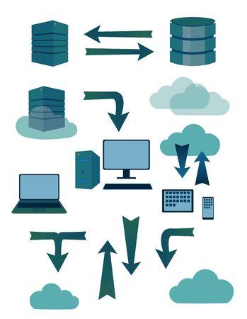 sever: Sever database symbols Illustration