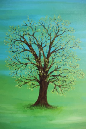 A painting of a tree on a green field