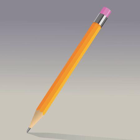 grafit: Pomarańczowy grafitowy ołówek z gumką Ilustracja