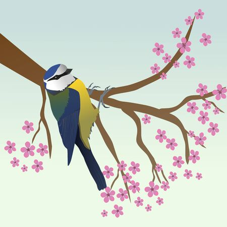 Blue tit in a tree Ilustrace
