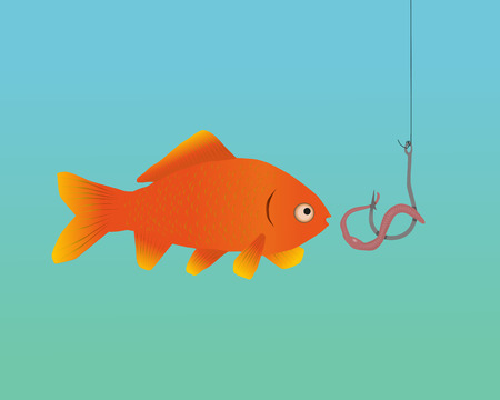 lombriz de tierra: Un pez atrapado Vectores