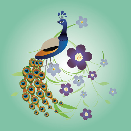 Peacock with flowers