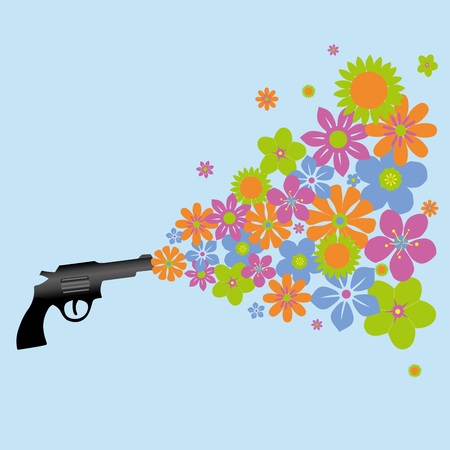 A gun shooting flowers on green background.