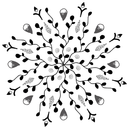 A mandala with twigs and leafs illustration