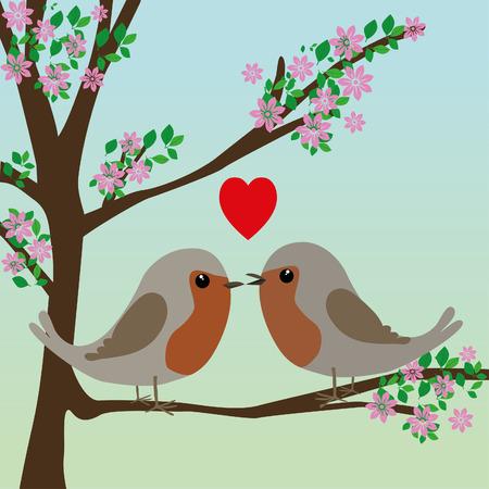 Two cute robins