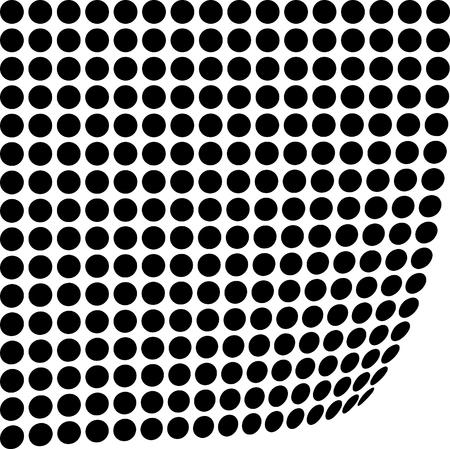 Abstract circle pattern on black curvy illustration.