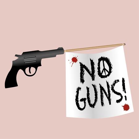 A gun shooting a no gun flag
