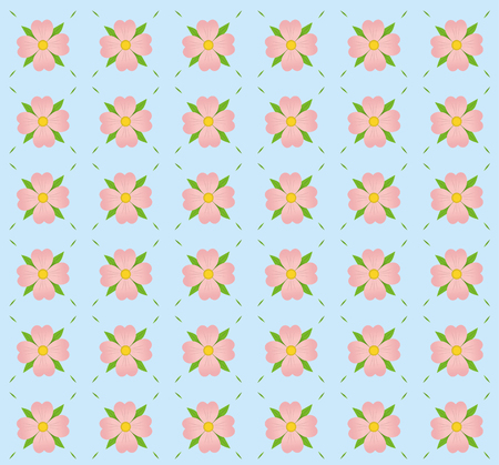 a pattern of pink flowers on blue background. Иллюстрация