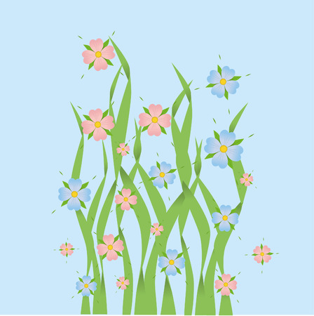 Pink and blue flowers in grass Ilustrace