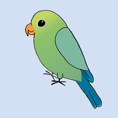 A drawing of a green parrot Иллюстрация