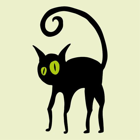 Schwarze Katze mit grünen Augen Vektorgrafik