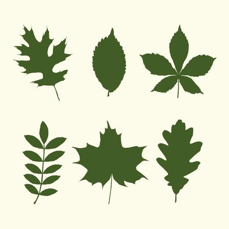 Set of tree leaves shapes Ilustração