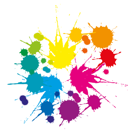 A set of colored stains caused by falling liquid on a white background Иллюстрация
