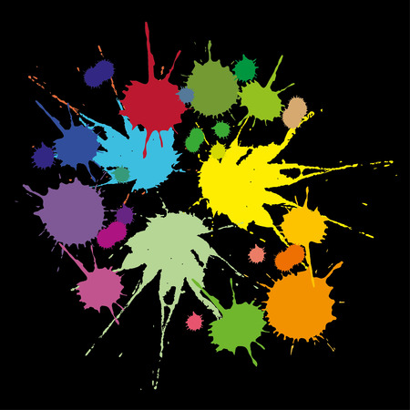 A set of colored stains caused by falling liquid on a black background