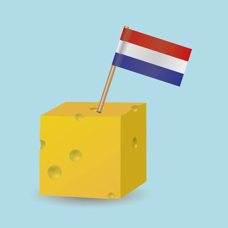 A cheese cube with a Dutch flag Banco de Imagens