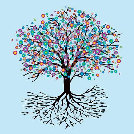 Tree of life rainbow flowers