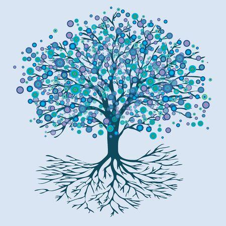 Tree of life blue round flowers Иллюстрация