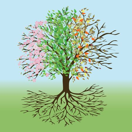 A tree of life with pink blossom and flower butts, green leafs, autumn leafs and winter branches