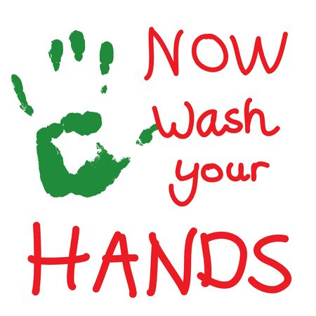 A sign with a green hand print an red text telling