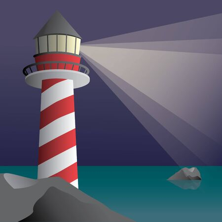 A lighthouse by the sea. In the sea is a rock and the lighthouse stands on a rock. 矢量图像