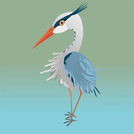 A vector illustration of a cute blue heron
