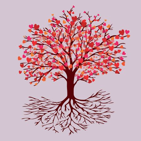 A tree of life with heart shaped red leafs of blossom. Al tints are red, pink and orange