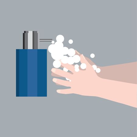 A digital vector illustration of a soap dispenser with a pair of hands washing. Important to prevent spreading the Covid 19 pandemic 矢量图像