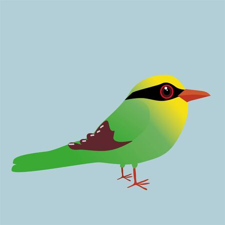 A cute illustration of a Common green magpie. Cartoon style