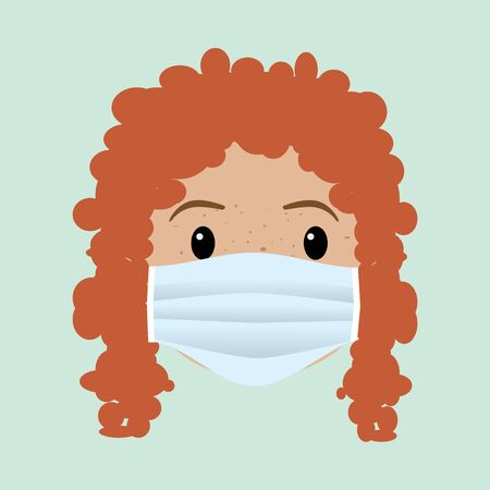 A womans face with a protective facemask. The woman has red hair and freckles.
