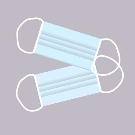 A digital vector illustration of two disposable face masks. Every day tool to prevent spreading the Covid 19 pandemic