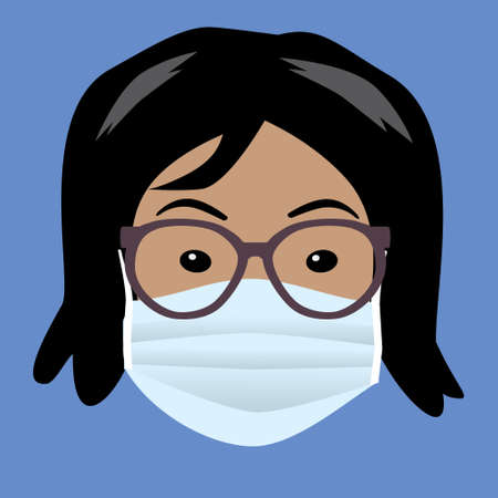 A woman's face with a protective face mask. The woman has black hair and is wearing glasses. She looks Asian
