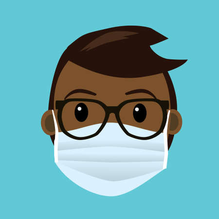 A mans face with a protective face mask. The man has black and dark skin and is wearing glasses. 矢量图像