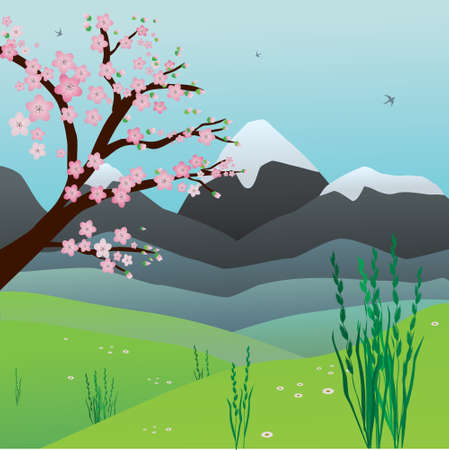 Landscape with hills, grass and a blossom tree. The sky is blue. In the sky there are birds flying.