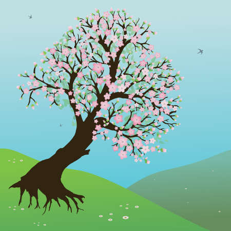 Landscape with hills, grass and a pretty blossom tree. The sky is blue. In the sky there are birds flying.