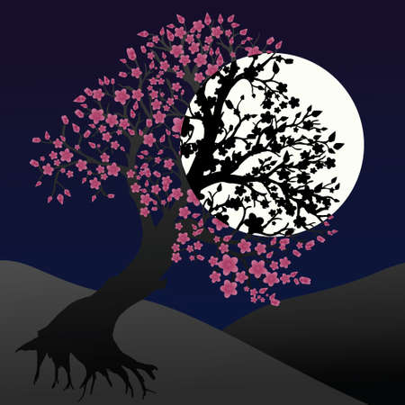 Landscape by night with a pretty blossom tree.There is a huge moon in the sky 矢量图像