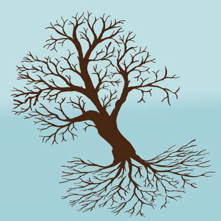A tree of life in winter with an empty crown and roots. The background is icy blue