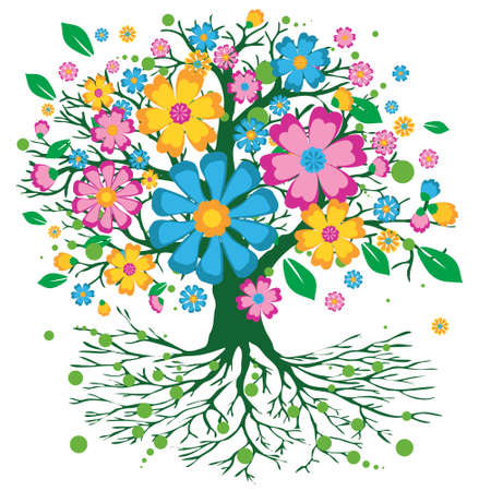 A colorful tree of life with a crown full of colorful flowers. The background is white 矢量图像