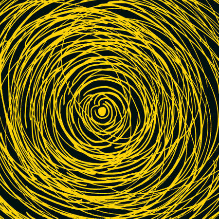 An abstract vector of a grunge structure. Yellow circular scratches on a black background