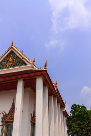 nonthaburi province: Thai tradition of temple roof at Kao-Kret, Nonthaburi province