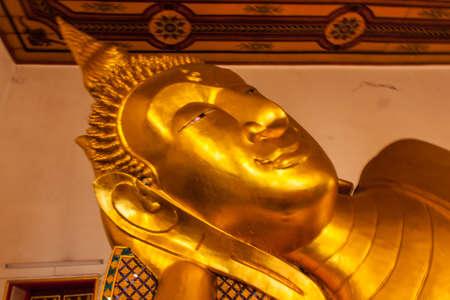 nonthaburi province: Reclining Buddha image at Kao-Kret, Nonthaburi province, Thailand Stock Photo