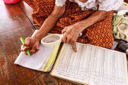 calculated: Thai eldery fortune teller was calculated for perdiction